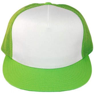 Casquette Filet Yupoong - Vert pomme / Front blanc
