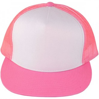 Casquette Filet Yupoong - Rose / Front blanc