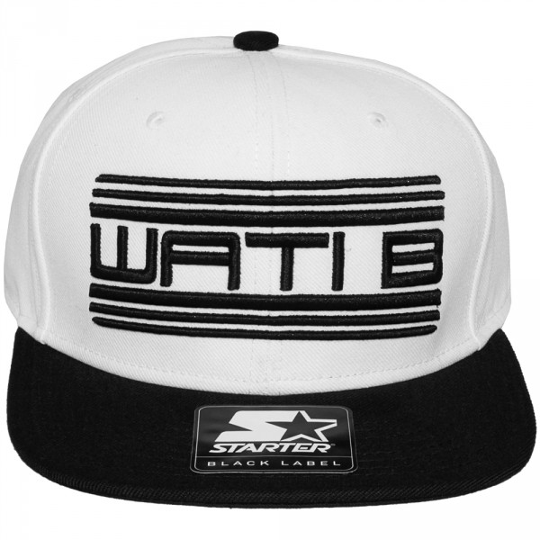 casquette snapback wati b x starter wati b logo white black. Black Bedroom Furniture Sets. Home Design Ideas
