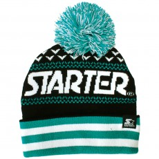 Bonnet Starter - Jaquard Bobble - Black / Teal