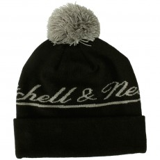 Bonnet Mitchell & Ness - M&N Script Cuffed Knit - Black / Grey