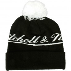 Bonnet Mitchell & Ness - M&N Script Cuffed Knit - Black / White