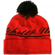 Bonnet Mitchell & Ness - M&N Script Cuffed Knit - Red / Black