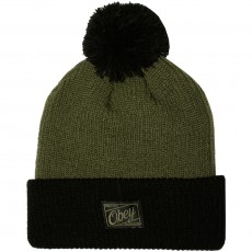 Bonnet Obey - Old Timey Pom Pom Beanie - Army / Black