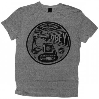 OBEY Tri-Blend T-shirt - Amplify Your Voice - Heather Grey