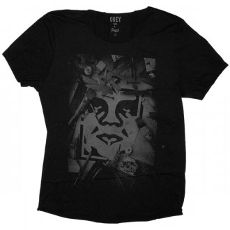 OBEY Raw Edge T-shirt - Tools Of The Trade Photo - Black