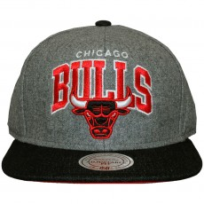 Casquette Snapback Mitchell And Ness - NBA Assist Heather Wool - Chicago Bulls - Grey / Black