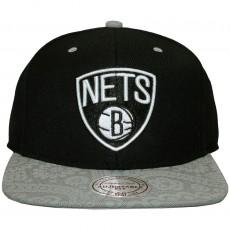 Casquette Snapback Mitchell And Ness - NBA Paisley Print - Brooklyn Nets - Black / Grey
