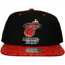 Casquette Snapback Mitchell And Ness - NBA Paisley Print - Miami Heat - Black / Red