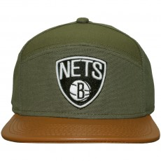 Casquette 6 Panel Hybrid Mitchell And Ness - NBA Canvas Horizon - Brooklyn Nets - Green / Brown