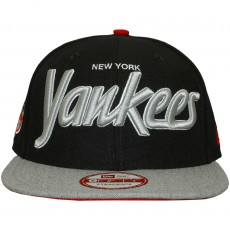 Casquette Strapback New Era - 9Fifty MLB Team Script Heather - New York Yankees - Navy / Grey