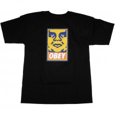 T-Shirt Obey - Orange Icon Face - Black
