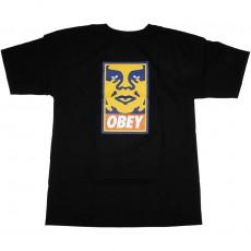 T-Shirt Obey - Orange Icon Face - Black