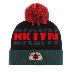 Bonnet Cayler And Sons - BKLYN Pom Pom Beanie - Black / Forest Green / Red