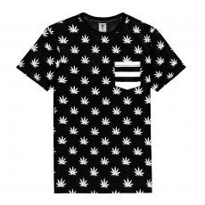 T-Shirt Cayler And Sons - Leaves 'n Stripes Pocket Tee - Black / White