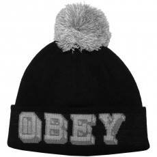 Bonnet Obey - University Pom Pom Beanie - Black