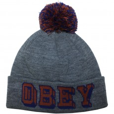 Bonnet Obey - University Pom Pom Beanie - Heather Grey
