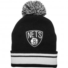 Bonnet Mitchell And Ness - NBA Stripe Knit - Brooklyn Nets - Black / White