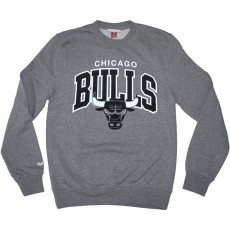 Sweat Shirt Mitchell And Ness - NBA Black And White Team Arch Crew - Chicago Bulls - Grey Heather