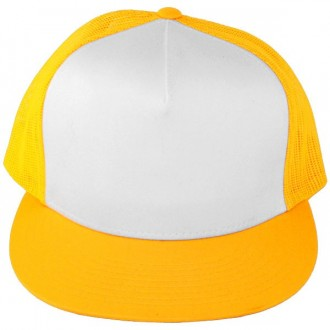 Casquette Filet Yupoong - Jaune / Front blanc