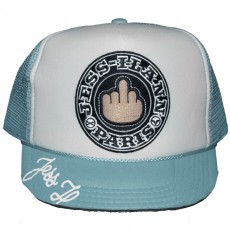 Casquette Trucker Jessilann - Black Fuck - White / Light Blue