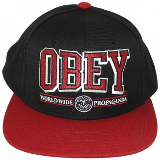 Casquette Snapback Obey - Obey Athletics - Black-Red