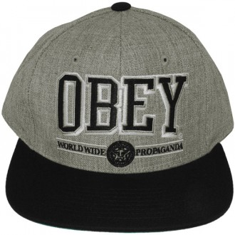 Casquette Snapback Obey - Obey Athletics - Heather Grey-Black