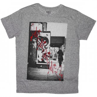 T-shirt Obey - Nubby Thrift Tees - Love Me 03 - Heather Grey