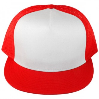Casquette Filet Yupoong - Rouge / Front blanc
