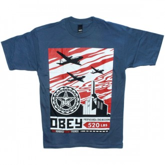 T-shirt Obey - Basic Tee - Airplane Factory - Patrol Blue