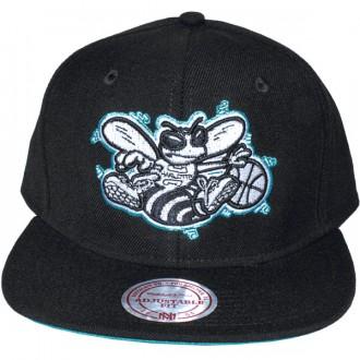 Casquette Snapback Mitchell & Ness - NBA Vintage Black & White Logo - Charlotte Hornets