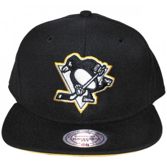 Casquette Snapback Mitchell & Ness - NHL Vintage Black & White Logo - Pittsburgh Penguins