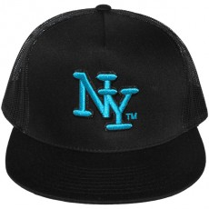 Casquette Filet Yupoong - NY - Noir / Turquoise