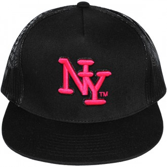 Casquette Filet Yupoong - NY - Noir / Rose