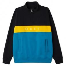 Sweatshirt Obey - Chelsea Mock Neck Zip - Black / Multicolor