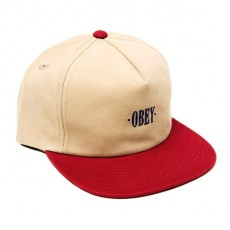 Casquette Snapback Obey - Jungle Snapback - Light Khaki / Raspberry
