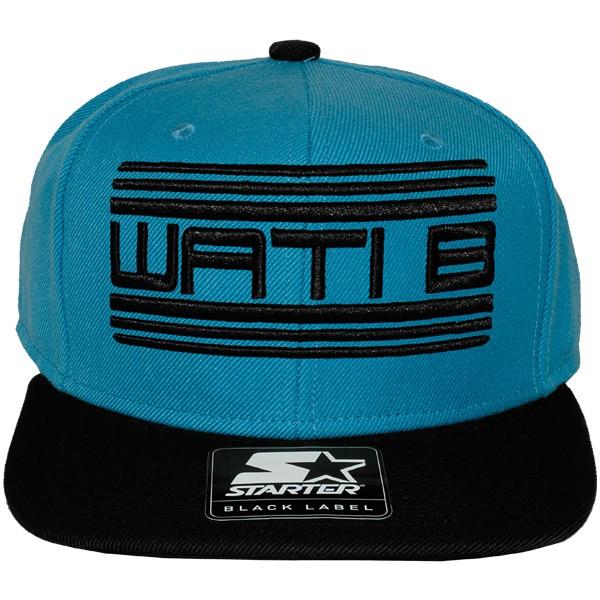 casquette snapback wati b x starter wati b logo neon blue black. Black Bedroom Furniture Sets. Home Design Ideas