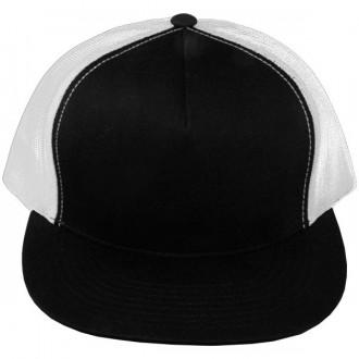 Casquette Filet Yupoong - Blanc / Front et visière noir