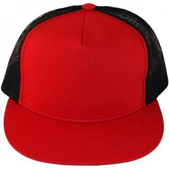 Casquette Filet Yupoong - Noir / Front et visière rouge