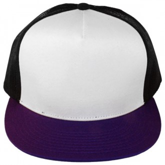 Casquette Filet Yupoong - Noir / Front blanc / Visière violette