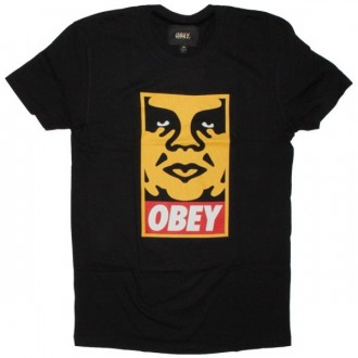 OBEY Premium T-Shirt - Orange Icon Face - Black