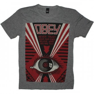 OBEY Tri-Blend T-Shirt - Never Trust Your Eye - Heat