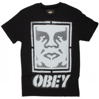 OBEY T-shirt - Icon Face Stencil - Black