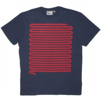 WESC T-shirt - Medium Blue Snake Stripe